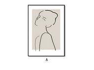 手绘线条人物 & 橘子:现代北欧风家居客厅装饰画/挂画(PS直角框款)