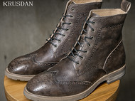 外贸马丁靴男高帮系带圆头工装靴男短靴潮复古雕花布洛克男靴真皮