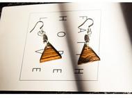 原创手工耳饰黄金檀木925纯银耳环耳挂一对礼物男女