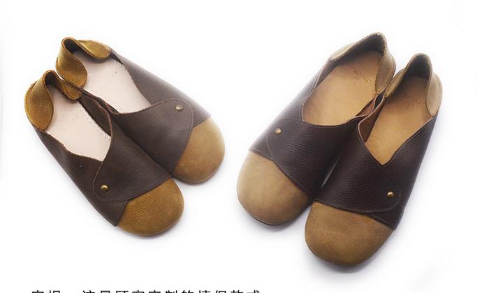 手工情侣鞋 头层牛皮裁缝技术一脚蹬懒人鞋