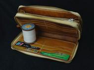 双拉链植鞣革手包
