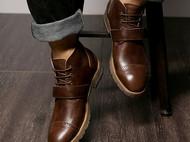 2016 秋冬品牌休闲复古英伦系带男士单靴头层牛皮高帮皮靴男真皮