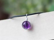 天然紫水晶吊坠圆珠99足纯银包边手工吊坠子项链颈链锁骨链皮绳链