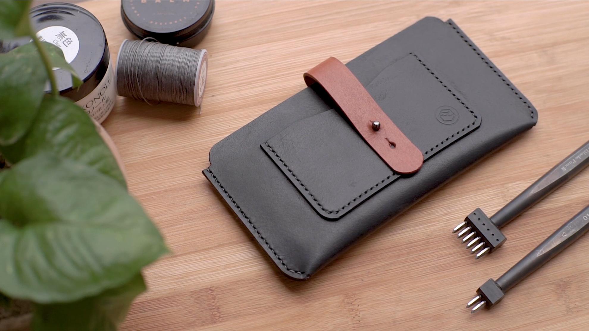手工皮革制作视频教程:带卡位的极简风手机包/手工保护套(附带图纸下载)