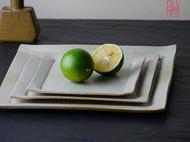 【隐机者】一方 无光白机理手陶方盘三件套 景德镇茶点盘 小碟