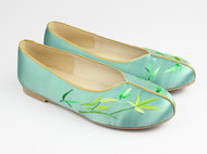 翠竹手绣真丝缎面平底中式鞋 平跟鞋 苏绣 设计师品牌 祖母绣堂