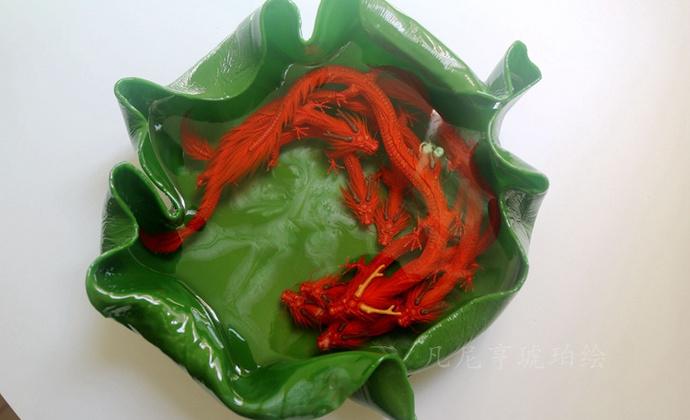 红艳九蛟龙荷叶游龙池 琥珀绘装饰摆件 多层手工绘制神龙