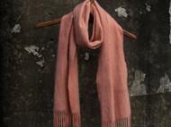 南山草木染原创秋冬季保暖流苏边羊绒女士粉红围巾