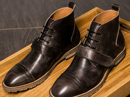 秋冬新款复古尖头潮靴英伦系带男士单靴头层牛皮高帮皮靴男真皮