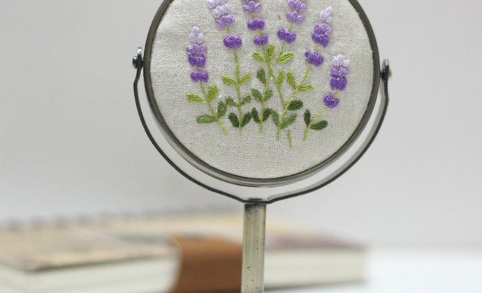 薰衣草刺绣立镜