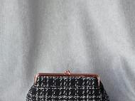【LXB私人设计】黑白条纹毛呢口金包