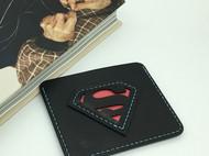 【DIY已打斩皮革材料包】黑色意大利植鞣革头层牛皮超人卡包