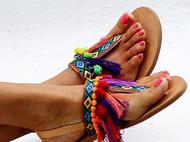波西米亚意大利A级植鞣革牛皮流苏滴胶钻链手工制作凉鞋