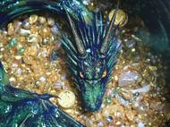炫彩绿飞龙 凡尼亨琥珀绘 聚宝盆装饰摆件 手绘绘制