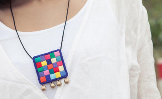 HIWANG『正方形』棉麻刺绣几何拼接项链 民族风