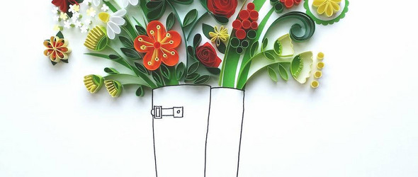 虚与实结合的衍纸艺术画 - 英国纸艺家 Meloney Celliers 作品选