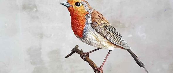 纸张与木材的组合,碰撞出栩栩如生的鸟类雕塑  | Zack Mclaughlin