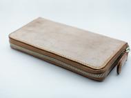 棕色擦蜡植鞣革拉链手包