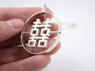 新中式囍字项链 初独立设计 原创手工纯银 双喜毛衣链 汉字囍 项链 结婚礼物 礼品