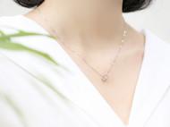 简约小清新s925纯银时尚百搭项链圆环魔方套链首饰银饰品礼物女