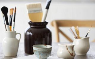 Kintsugi金缮工艺教程:环氧树脂与云母粉结合修复陶瓷diy教程