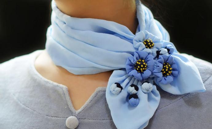 草花姑娘|真丝雕塑艺术丝巾