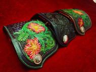 骄阳手工皮具个性定制钥匙包 进口植鞣皮满雕唐草纹 纯手工制做