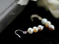 三色天然珍珠优雅气质耳环