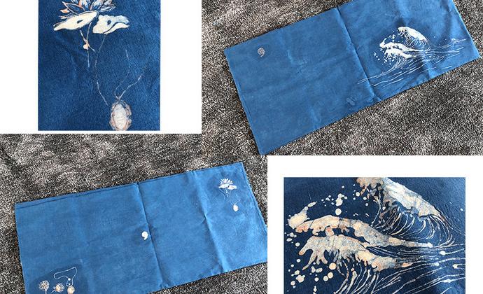 「壹時」蓝染蜡染桌旗,需定制100/米
