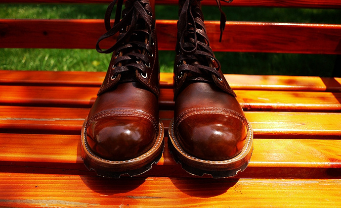 3/4沿条伞兵,手工固特异工装靴,霍尔文皮