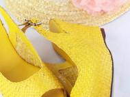 夏日隆叮咚---纯手工编织坡跟皮凉鞋
