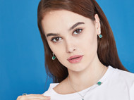 CAMBAS刊芭思 绿色星球不对称耳坠 925纯银法式高级感长款耳环女