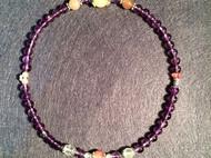 [夜空]那年那暖原创手链 紫水晶6mm月光石 天然绿葡萄 925纯银