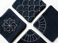 【虾条手作】手工缝制 棉麻刺子绣杯垫 茶道布艺隔热垫 可定制
