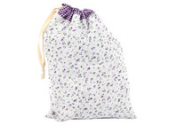 Ivenran 依雯然 手工棉麻袋 紫色碎花图案高品质收纳袋