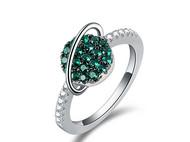 CAMBAS刊芭思 绿色星球戒指女 ins个性潮流冷淡风食指戒指环