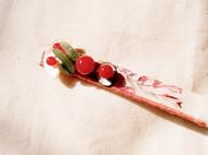 日式山茶花形染棉麻贝壳片碎玉红玛瑙异形发卡