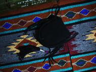 集点手作坊 手工皮具goros高桥财布菊花扣 阿美咔叽 黑色鹿皮腰包