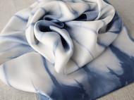 蓝染双层真丝丝巾