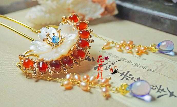 手工原创玛瑙珍珠琉璃流苏簪古风发饰