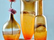 创意彩色玻璃大花瓶 家居装饰摆件吹制玻璃插花工艺品美式花器