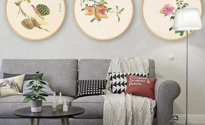 新中式实木水墨花卉圆形家居装饰画/挂画/壁画