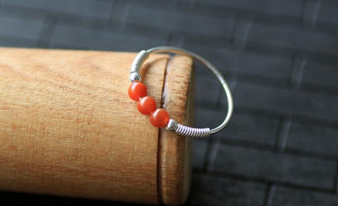 天然南红玛瑙柿子红99纯银戒指尾戒细款包邮拍下请留戒指号码