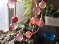 南红紫灰玛瑙配真皮绳 纯银珠项链(已出)