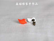 【森姑娘家】飞鸟耳钉 手绘热缩片耳钉 可定制其它颜色