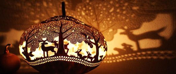 被梦幻的灯光包围 | 日本手工作家@bunbun383 的雕刻葫芦灯饰世界