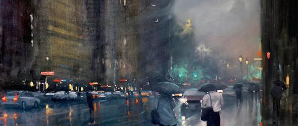 澳大利亚都市雨景:澳大利亚画家 Mike Barr(麦克·巴尔)绘画作品