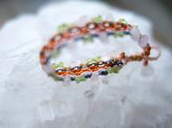「气息」KOAN 南美macrame绳编原石 不规则橄榄石 粉晶 手链 手排