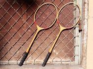 Wilson 古董羽毛球拍 装饰品 木质羽毛球拍 老羽毛球拍 古董球拍装饰