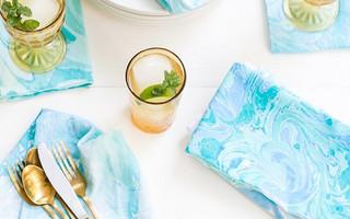 Marbling湿拓法教程 - DIY大理石花纹染色餐巾布(翻译教程)